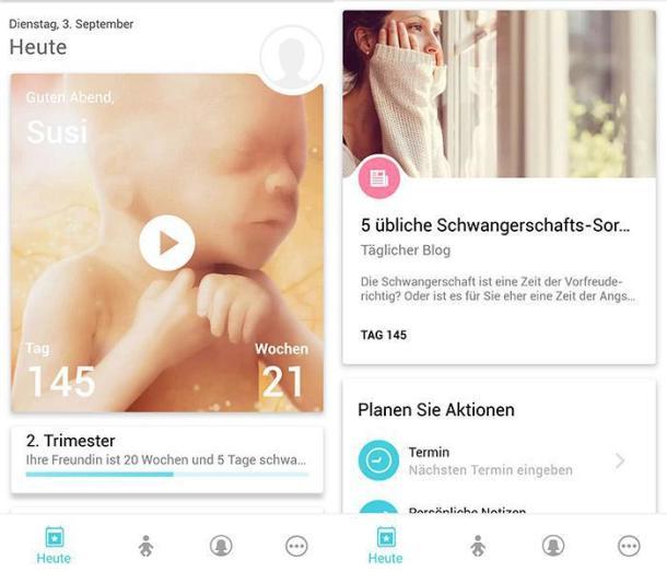 Screenshots der App Schwangerschaft +.