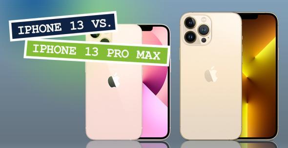 iPhone 13 und iPhone 13 Pro Max nebeneinander mit Vorder- und Rückseite