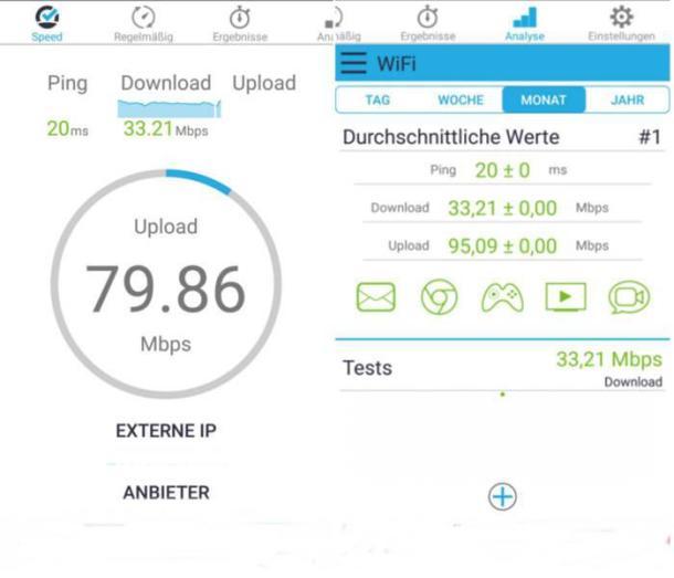 Handy-Speedtest mit der App Speedcheck.