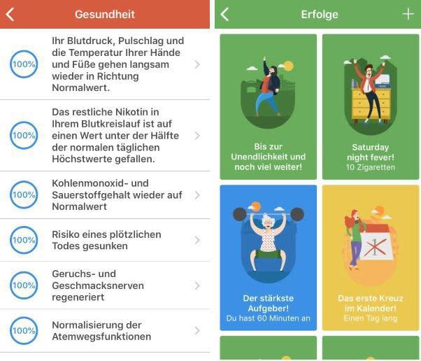 Screenshots der Nichtraucher-App QuitNow