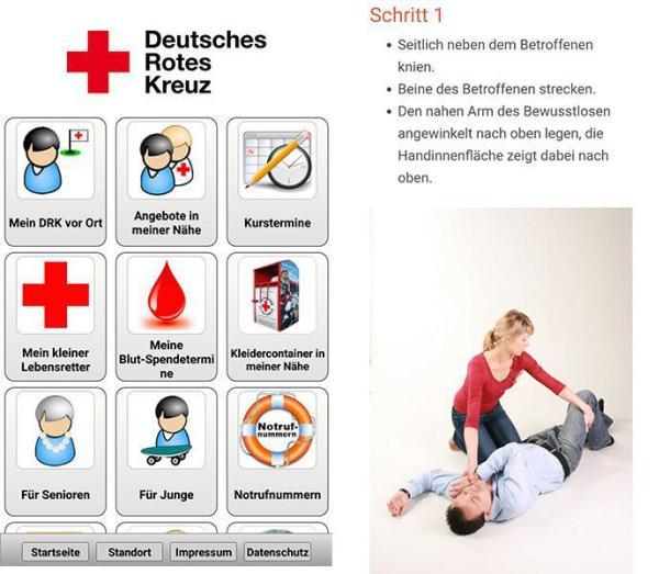 Screenshots aus der App vom Deustchen Roten Kreuz (DRK).