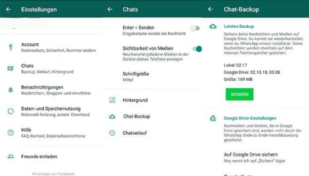 2 Screenshots WhatsApp-Chats übertragen via Google Drive.