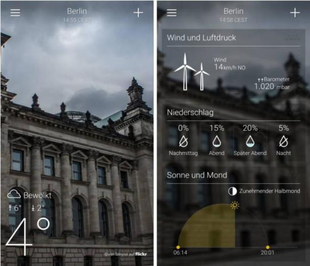 Beispielsbild der Wetter-App von Yahoo