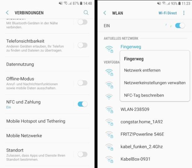 Screenshots NFC-Einstellungen in Android