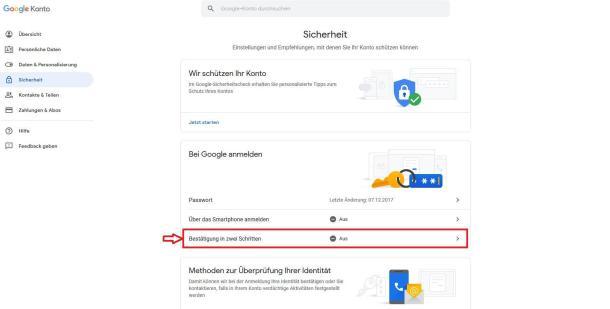 Über die Einstellungen des Google-Kontos kann die Zwei-Faktor-Authentisierung aktiviert werden.