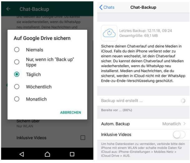 Screenshot der WhatsApp-Backupsicherung auf Google Drive.