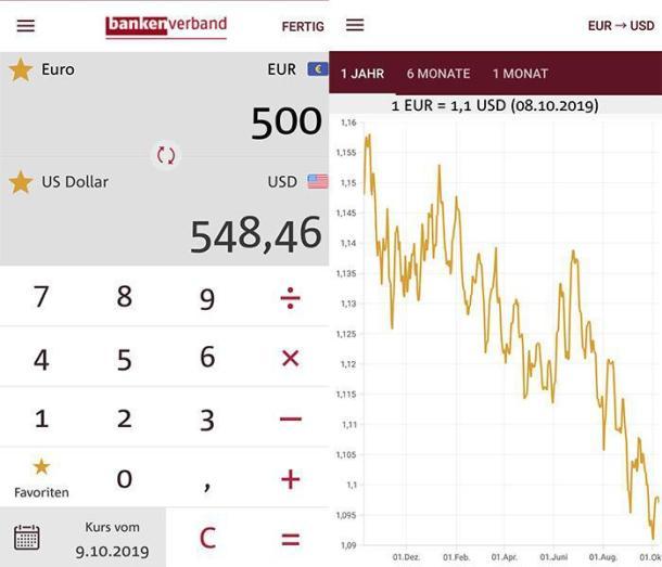 Zwei Screenshots der Währungsrechner App Währungsrechner Reise+Geld