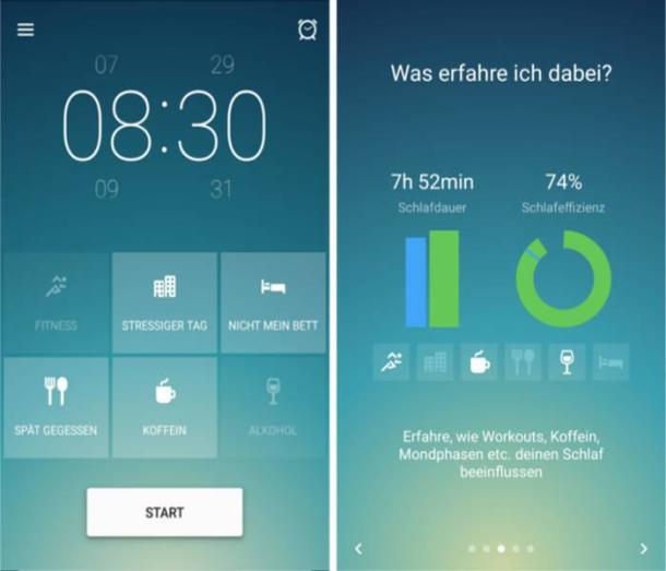 Zwei Screenshots der App Sleep Better.