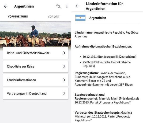 Zwei Screenshots der Reise App: Sicher Reisen