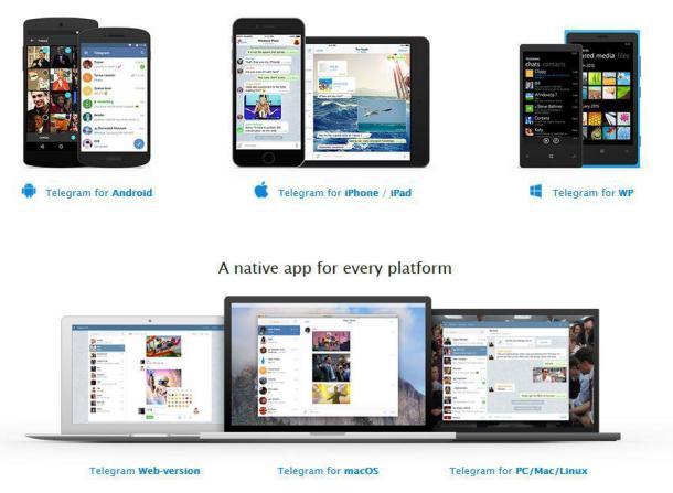 Benutzeroberfläceh der Telegram-Website