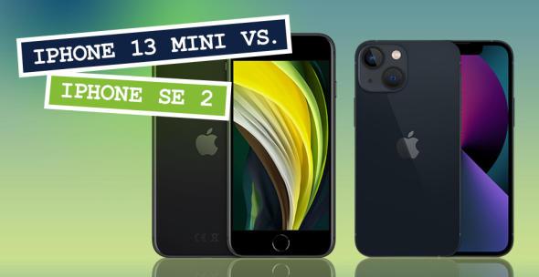 iPhone SE 2 und iPhone 13 mini nebeneinander mit Vorder- und Rückseite