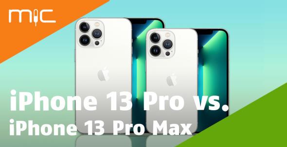 iPhone Pro Max und iPhone Pro nebeneinander mit Vorder- und Rückseite