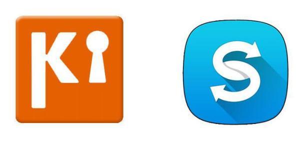 Die Logos der Samsung-Datenübertragungs Samsung Kies und Smart Switch.