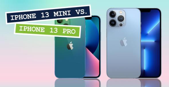 iPhone13 mini und iPhone 13 Pro nebeneinander mit Vorder- und Rückseite