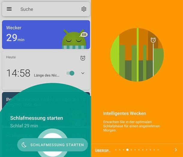 Zwei Screenshots der Schlaf-App Sleep as Android.