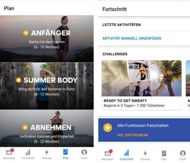 zwei Screenshots der App Runtastic.