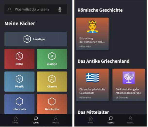 Oberfläche der Wissens-App Simple Club