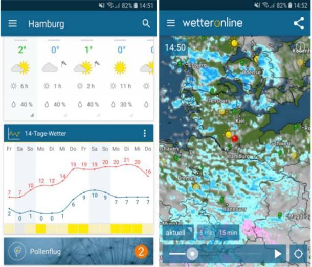 Beispielsbild der Wetter-App Wetteronline