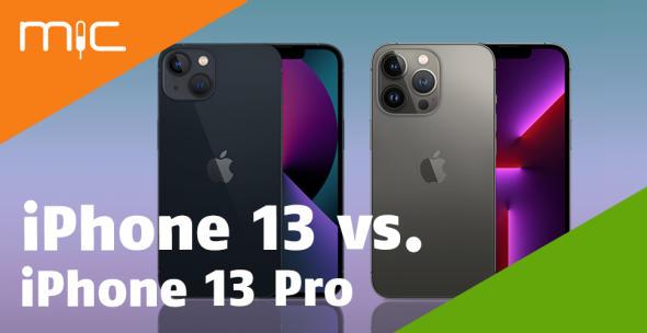 iPhone 13 und iPhone 13 Pro nebeneinander mit Vorder- und Rückseite