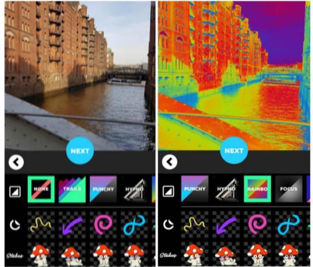 Zwei Screenshots der App GIPHY CAM