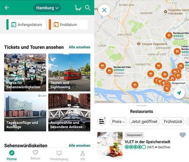 Zwei Screenshots der Reise App Trip Advisor