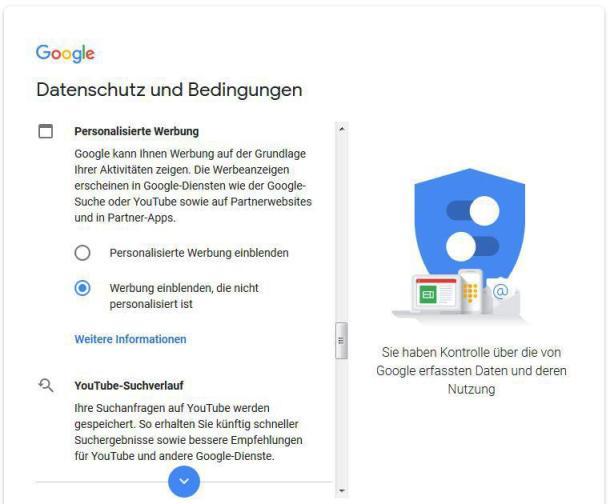 Screenshot der Datenschutzeinstellungen im Google Konto