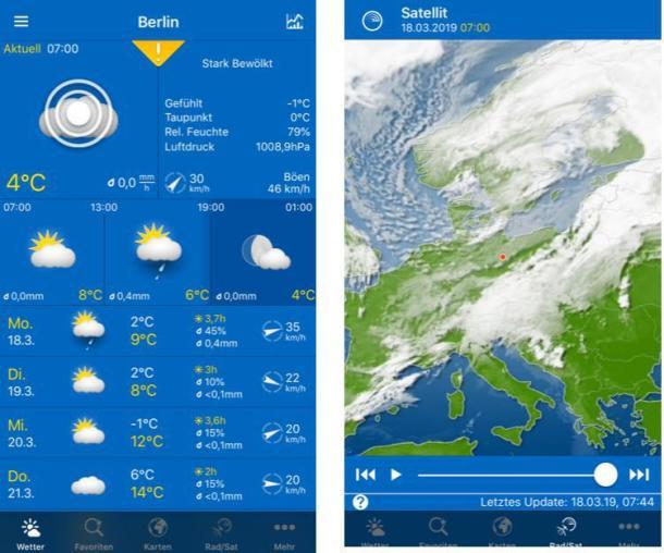 Screenshots aus einer der besten Wetter-Apps WeatherPro