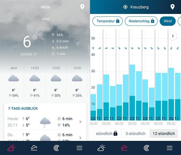 2 Screenshots der Wetter App WeatherPro Free
