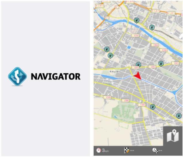 Screenshots der Navigations-App Mapfactor