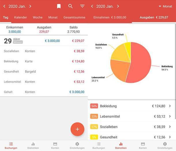 2 Screenshots der Haushaltsbuch-App Money Manager