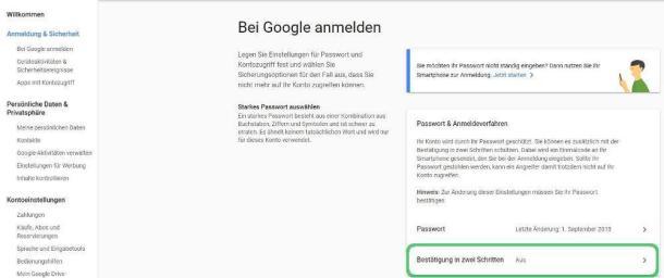 Screenshot der Anmeldung der Zwei-Faktor-Authentifizierung im Google Konto