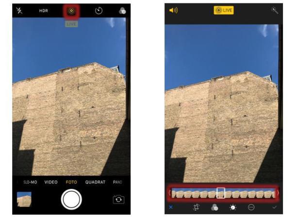 Screenshots von Live-Photo-Aufnahmen
