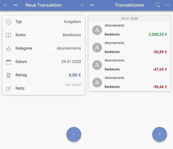 2 Screenshots der Haushaltsbuch-App Say Money