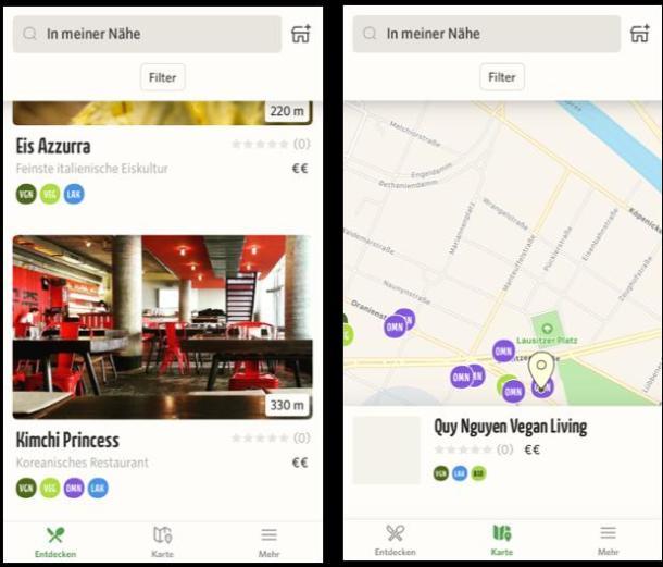 Zwei Screenshots aus der Restaurant-App Vanilla Bean für vegane Restaurants.