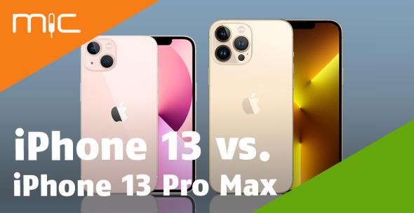 Ein rosafarbenes und ein goldenes iPhone in Vorder- und Hinteransicht.