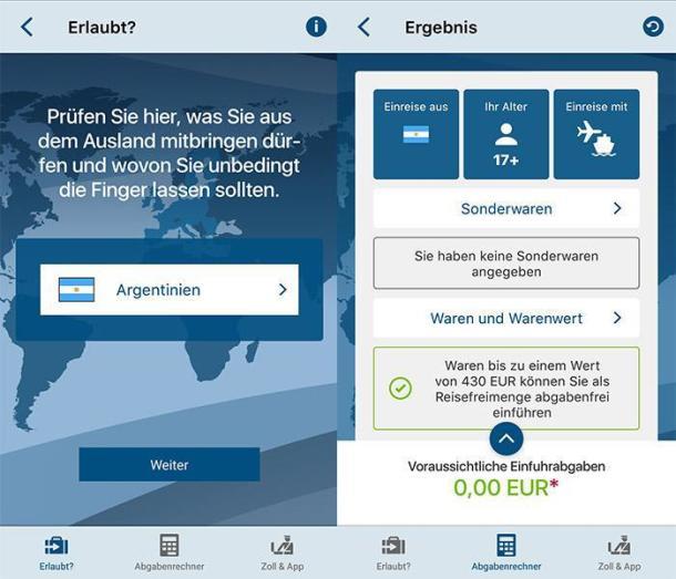 Zwei Screenshots der Reise App Zoll und Reise