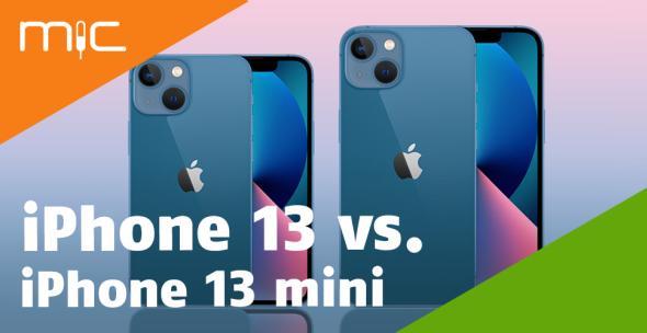 iPhone 13 mini und iPhone 13 nebeneinadner mit Vorder- und Rückseite