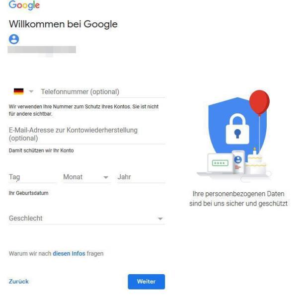 Screenshot zur Eingabe der Nutzerdaten beim Erstellen des Google Kontos