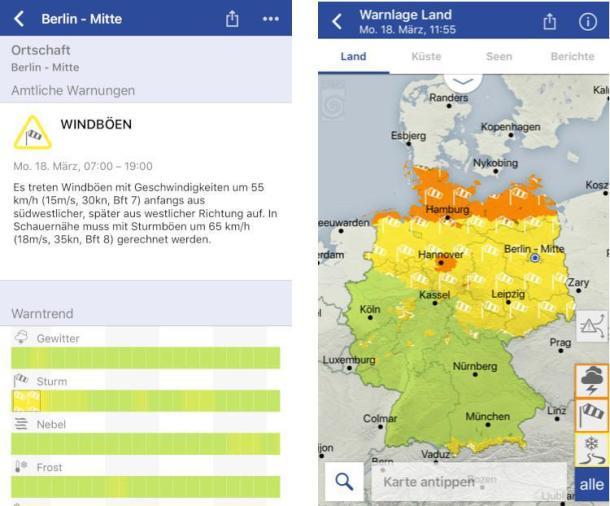 Screenshots der Wetter-App des deutschen Wetterdienstes (DWD)