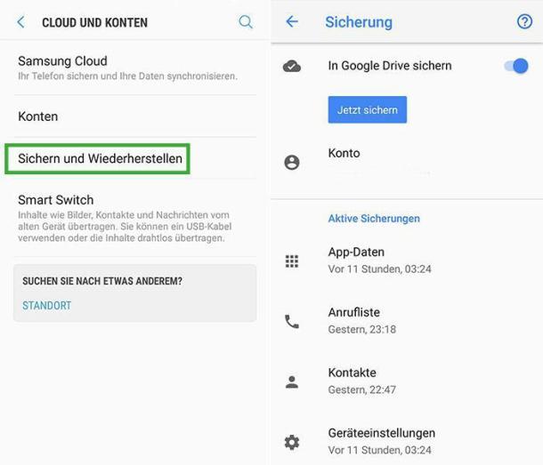 Screenshots Android Backup Smartphone Einstellungen