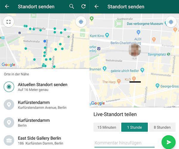 In WhatsApp lässt sich der Standort oder Live-Standort mit Freunden und Bekannten teilen.