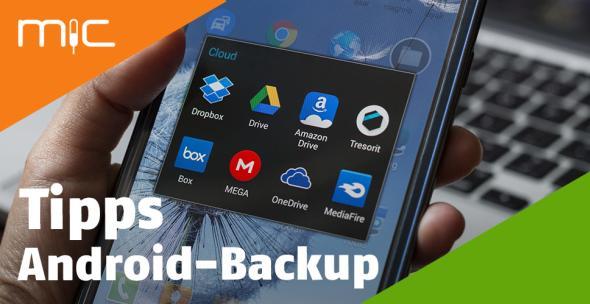 Ein Smartphone-Display, auf dem verschiedene Cloud-Anbieter angezeigt werden