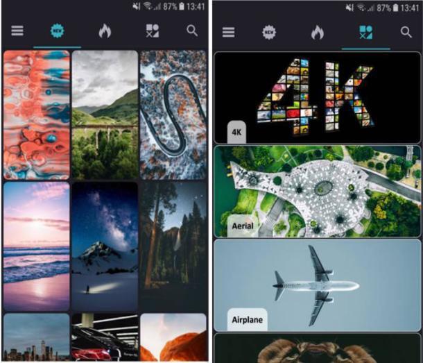Einblick in die Wallpaper-App Everpix mit Auswahl an Hintergünden für das Handy.