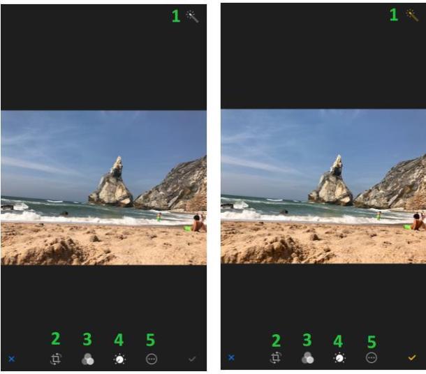Screenshots der verschiedenen Bereiche zur Bearbeitung der Farbwerte in der iPhone Fotos App
