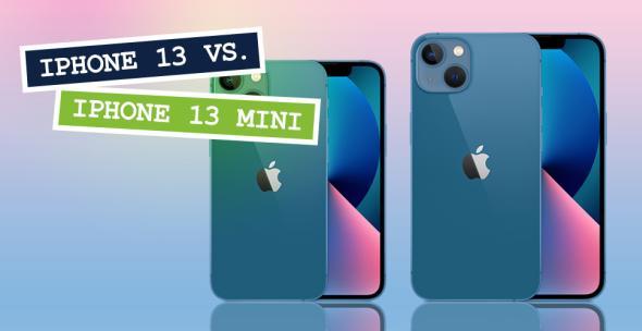 Vorder- und Rückseite des iPhone 13 und iPhone 13 mini in der Farbe blau.