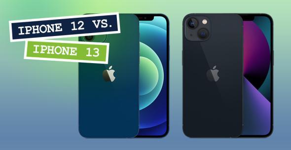 iPhone 12 und iPhone 13 nebeneinander in Vorder- und Rückansichten