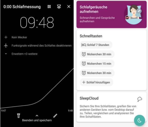 Zwei Screenshots der App Sleep as Android.