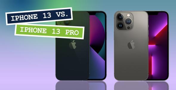 iPhone 13 und iPhone 13 Pro nebeneinader mit Vorder- und Rückseiten