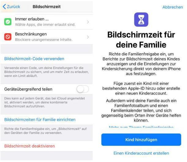 Screenshot der Kindereinstellungen in der iOS 12 App Bildschirmzeit.