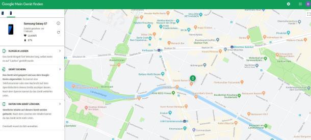 Handy-Ortung mit der Google-Adresse über Find My Mobile.